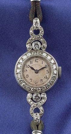 Art Deco Platinum and Diamond Wristwatch, Tiffany & Co.