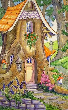 """""""Recycled Tree House Storybook Cottage Series"""" original fine art by Alida Akers Storybook Cottage, Cottage Art, Art And Illustration, Fantasy Kunst, Fantasy Art, Fairy Tree, Whimsical Art, Cute Art, Painting & Drawing"""