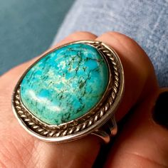 Vintage Navajo Old Pawn Ring... Sterling Silver and Natural Turquoise...  Size 9.5   sugardrawers.etsy.com