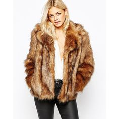 GUESS Glam Faux-Fur Coat ($89) ❤ liked on Polyvore featuring ...