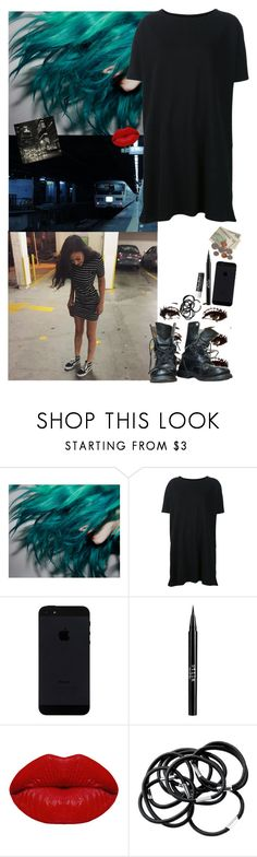 """""""Night out. With Arzaylea. All black, bright hair red lips."""" by avintagemystery ❤ liked on Polyvore featuring Organic by John Patrick, Stila, Winky Lux, H&M and Chapstick"""