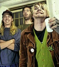 Nirvana photographed by Lorna Van Bel in London, UK on October 21st, 1990.