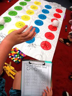 Write numbers on a twister mat! Students throw a bean bag onto the twister mat and come up with an addition/subtraction problem to the sum that is written on the twister mat! So much fun and great math practice! Second Grade Math, First Grade Math, Grade 2, Math Addition, Addition And Subtraction, Addition Games, Math Games, Math Activities, Dice Games