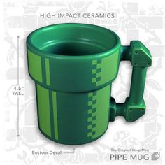 The Super Mario Pipe Mug is a must have for retro gamer fans who drink coffee.  Guess what?  That describe me.  Hooray!