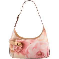 Pre-owned Salvatore Ferragamo Floral Gancini Shoulder Bag ($325) ❤ liked on Polyvore featuring bags, handbags, shoulder bags, brown, shoulder handbags, white shoulder bag, man shoulder bag, canvas shoulder bag and purse shoulder bag