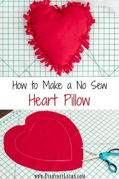 How to make a simple no sew heart shaped pillow for Valentine's Day. So easy and… How to make a simple no sew heart shaped pillow for Valentine's Day. So easy and no sewing required. Valentine's Day DIY decorating. Valentine Crafts For Kids, My Funny Valentine, Valentines Diy, Kids Crafts, No Sew Crafts, Walmart Valentines, Diy Valentine's Day Decorations, Valentine Decorations, Decor Diy