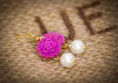 Magenta flower pearl earrings  magenta earrings by urbanelementsco, $14.00