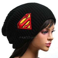 Superman Slouchy Beanie Black Men And Women, Hats For Women, Women Hat, Superman Logo, Knit Beanie Hat, Mens Caps, Sweater Weather, Snowboard, Winter Hats