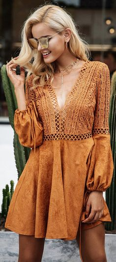 Cute Boho Tan Crochet Mini Summer Dress Outfit Ideas - Spring Casual Modest Boho Bohemian Hippie Indie Style Fashion Music Festival - ideas de trajes bohemios y moda - www.GlamantiBeauty.com