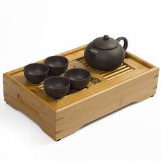 Drinkware Kung Fu Tea Set Bamboo Tea Tray Table Yixing Purple Clay Tea Pot Tea Tools For Cup and Mugs High Quality Free Shipping