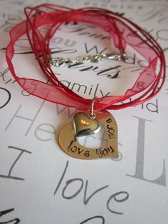Hand Stamped love you more Heart charm ribbon by girlinair on Etsy, $10.00