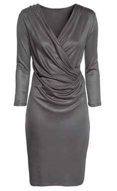 Elegant Style V-Neck Three Quarter Sleeves Solid Color Pleated Slimming Women's Dress