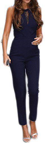 Damen  lange  Jumpsuit  Bodysuit  Overall  Turnanzug  Hosen Damen lange 593aae4e72