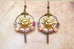 Brown Sun Beaded Hoop Earrings  Bohemian Celestial by chezviolette