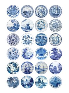 Delft Circles Digital Collage Sheet 20mm 18mm by MobyCatGraphics