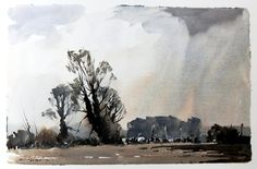 Edward Wesson (1910 — 1983, UK) watercolour. Watercolor Video, Watercolor Pictures, Watercolor Artists, Watercolor Landscape, Watercolour Painting, Landscape Art, Painting Prints, Landscape Paintings, Watercolors