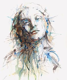 carnegriffiths:    Silence - Ink and tea on paper, Carne Griffiths