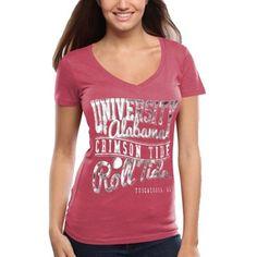 Alabama Crimson Tide Women's Inner Chevron Heathered V-Neck T-Shirt - Red