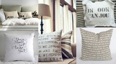 If you love pillows, now you can make your own! These DIY graphic stencil pillows are super easy to make and will look so cute in your bedroom or dorm. Diy House Projects, Cool Diy Projects, Craft Projects, Craft Ideas, Decorating Ideas, Interior Decorating, Interior Design, Stencil Diy, Stencils