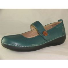 Ladies Place Strive Isabella Teal Mary-Jane shoe with velcro fastening and button detail £59.99