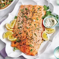 Whole Salmon Fillet with Cornichon-Caper Sauce Recipe | Coastal Living