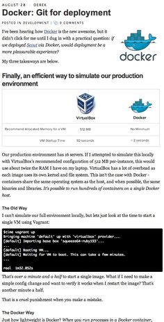 Docker: Git for deployment (an alternative to Vagrant) from the Scout blog