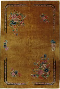 art deco chinese floral vintage rug