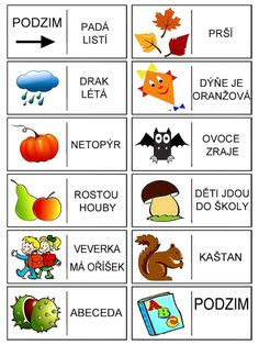 Pro Šíšu: Podzimni domino Month Weather, Autumn Activities For Kids, Preschool Themes, Primary School, Four Seasons, Art School, Montessori, Homeschool, Language