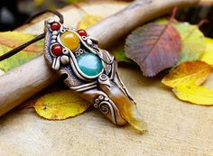Clay crystal necklace Native Tribal Jewelry agate от SweetlyART