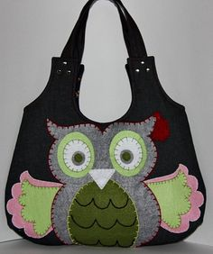 happy owl applique large colorfuldenim hobo bagpink by leyyabags Owl Patterns, Applique Patterns, Sewing Crafts, Sewing Projects, Happy Owl, Owl Bags, Owl Applique, Felt Owls, Felt Purse