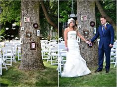 """outdoor wedding use my $2k ikea frames and hang with sign """"in memory of"""" from grape deck side"""