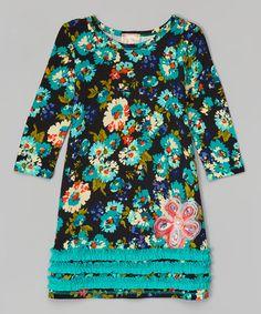 Love this Jade Floral Ruffle Shift Dress - Toddler & Girls on #zulily! #zulilyfinds