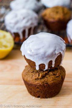 Gingerbread Muffins with Sweet Lemon Glaze | sallysbakingaddiction.com