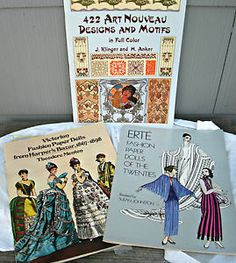 Lot of 3 Books - Erte Paper Dolls, Victorian Paper Dolls, Art Nouveau Designs