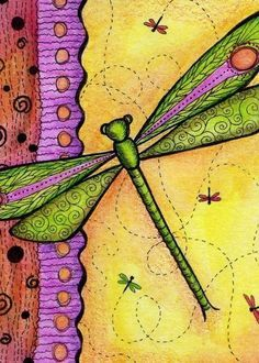 Dragonfly Rendezvous Print by crookedlittlestudio on Etsy Butterfly Dragon, Butterfly Art, Butterflies, Dragonfly Wall Art, Dragonfly Wallpaper, Art Forms, Painted Rocks, Art Drawings, Art Projects