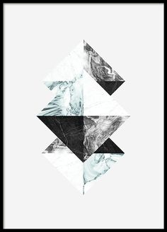 Graphical poster with triangles on a grey background. Stylish design with a marble pattern in blue and grey tones. Match this poster with our other posters in the same series to create an interesting and personalized wall collage. Just as nice to hang vertically as horizontally. www.desenio.co.uk