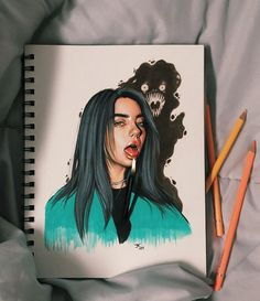 new ariana grade drawing 🕯 Pencil Art Drawings, Cool Art Drawings, Realistic Drawings, Cool Artwork, Art Sketches, Drawing Ideas, Drawing Art, Billie Eilish, Arte Sketchbook