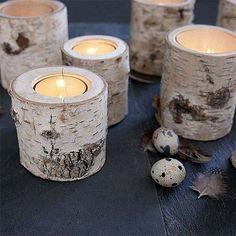 Glass-lined birch votives for earthy decor on reception dining tables. Candle Holders Wedding, Wood Candle Holders, Votive Holder, Birch Tree Decor, Birch Trees, Birch Branches, Birch Bark, Chandeliers, Tree Stump Table