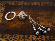 Fashion Keychain Ring made of Onyx Beads by alittlebeadofme, $7.99