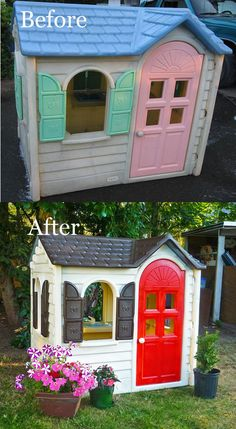 Little Tikes Playhouse Makeover. Add welcome mat/ stepping stones/ flower window box