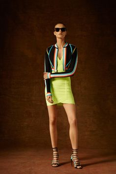 Hervé Léger by Max Azria | Pre-Fall 2015 | 08 Black long sleeve cropped jacket with stripes and yellow mini dress
