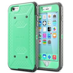 ULAK iPhone 6 Plus case (5.5 inch) [Knox Armor Series] Heavy Duty Full-body Rugged Case with Built-in Screen Protector, Dual Layer Design + Impact Resistant Bumper (Mint/Gray)
