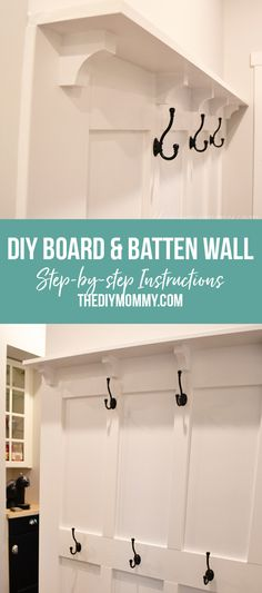 Learn step by step, how to build your own DIY Board and Batten Hook Wall. The perfect solution for keeping your entry way clean and organized. Diy Wall Hooks, Entryway Hooks, Garage Entryway, Diy Coat Rack, Entry Wall, Wall Molding, Board And Batten, Home Projects, Home Remodeling