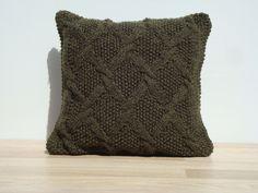 Knitting Pillow Green Pillow Home Decor by GreenCatStudio on Etsy