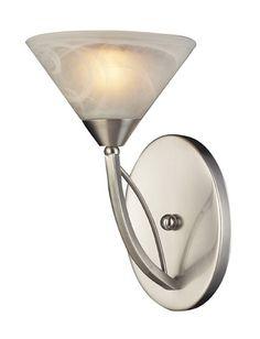 ELK Lighting 7630-1 One Light Wall Bracket In Satin Nickel And Marblized White Glass
