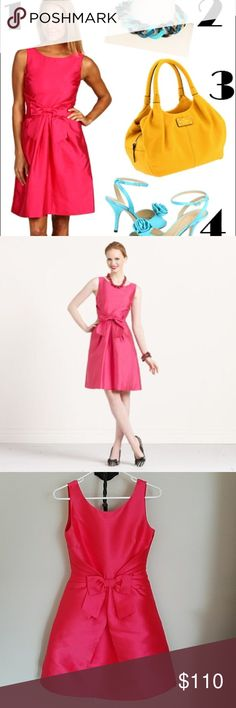 Kate Spade pink bow Jillian dress Excellent condition- worn once and no flaws. Gorgeous hot pink dress! kate spade Dresses