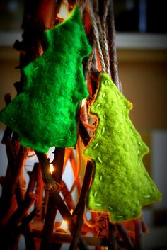 Christmas trees felted green home decor by woolpleasure on Etsy, $13.00