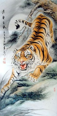 CHINESE PAINTINGS OF TIGERS | Chinese Paintings > Tiger LOVE THIS