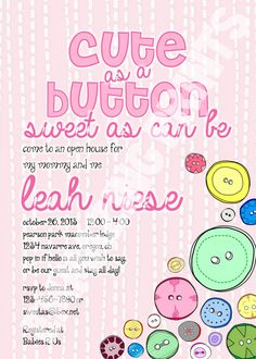 Cute As A Button Sweet As Can Be Baby Shower by EmmazingPrints