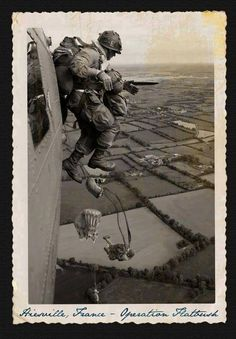 "American Paratrooper dives from his plane during Operation ""Flatbush"" over France Military Photos, Military Art, Military History, Military Soldier, Airborne Army, Airborne Ranger, Band Of Brothers, War Photography, Paratrooper"